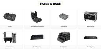 tasker og kasser til PA udstyr