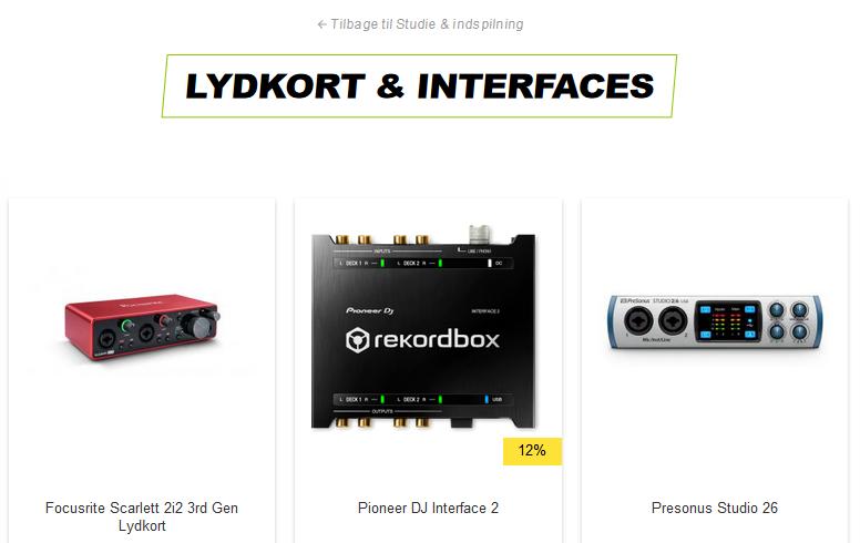 thunderbolt interface lydkort og kabler