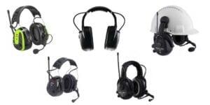 Forskellige høreværn med dab radio og bluetooth funktionalitet