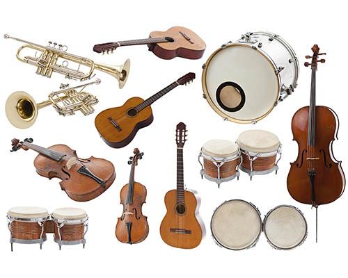 Billede af musikinstrumenter som guitar blæsere trommer