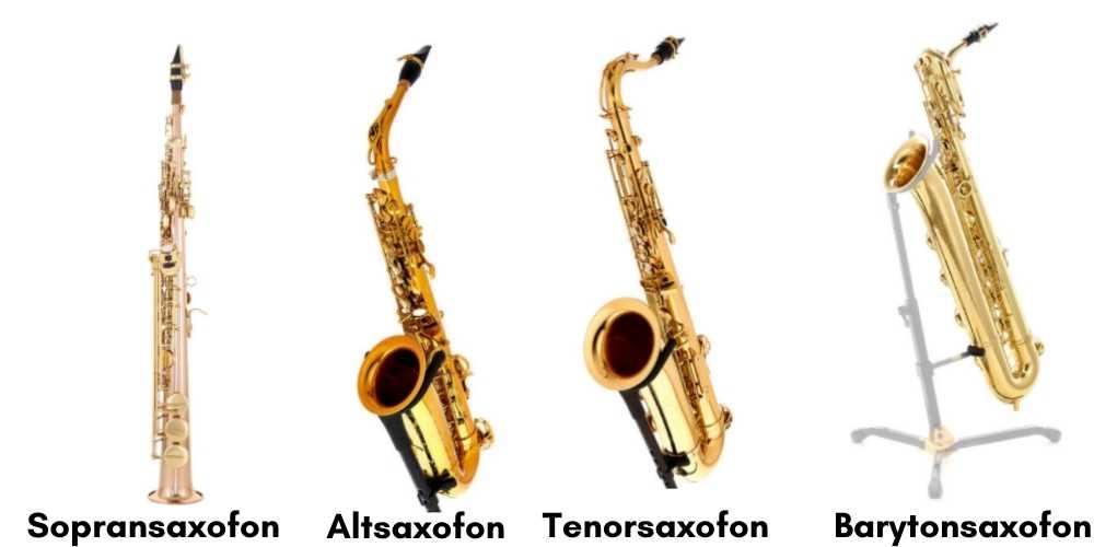 Sammenligning af Sopransaxofon, altsaxofon, tenorsaxofon og barytonsaxofon