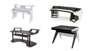 Studieborde og møbler fra forskellige brands i hvid, sort og brun