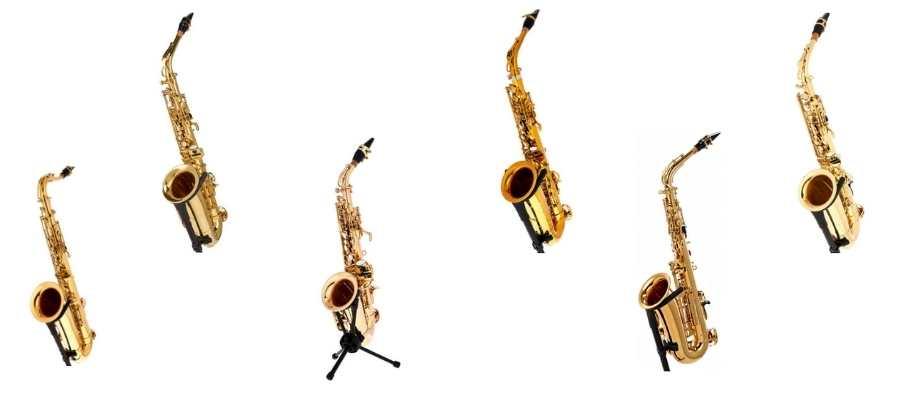 Baggrundsbillede af 6 forskellige saxofoner til bedst i test