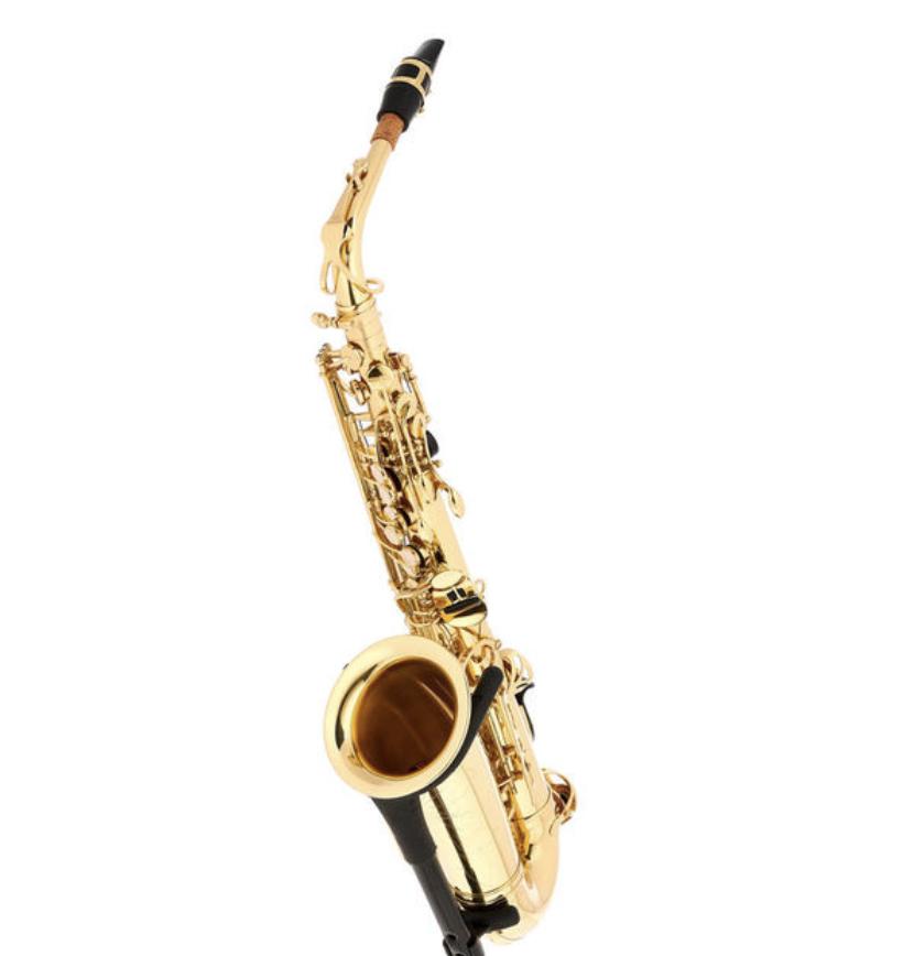 Thomann TAS-180 Alto Sax på et saxofonstativ