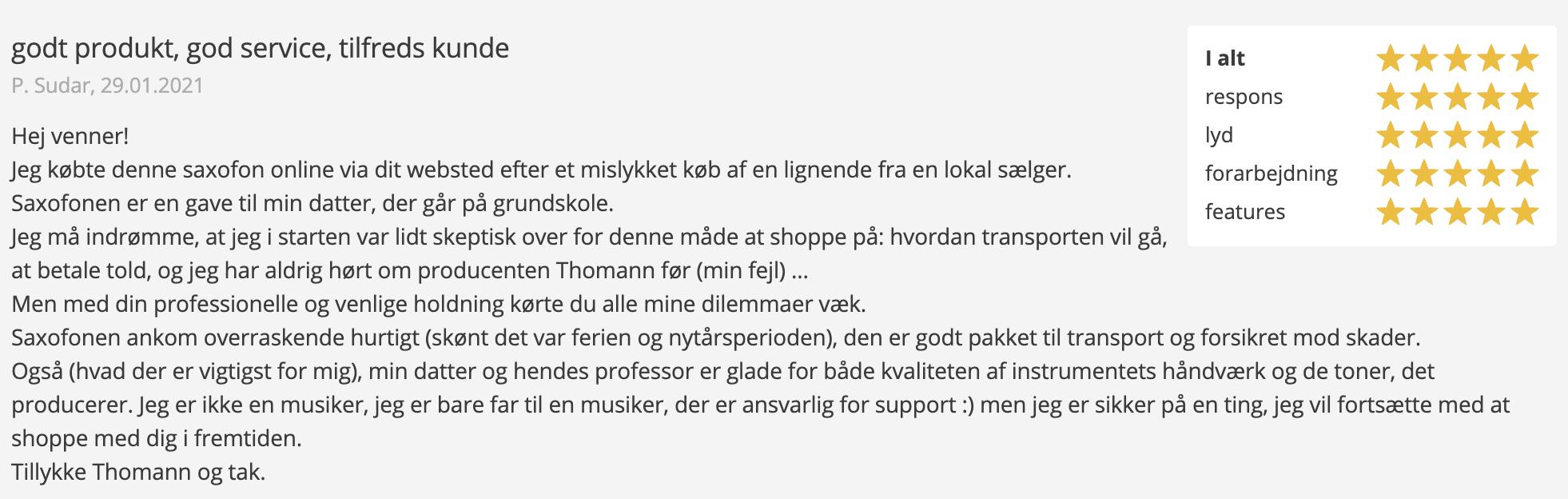Anmeldelse af Thomann TAS-180 Alto Sax