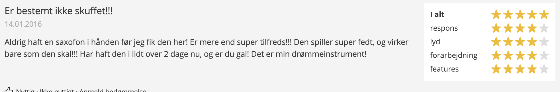 dansk anmeldelse af Startone SAS-75 Alto Sax