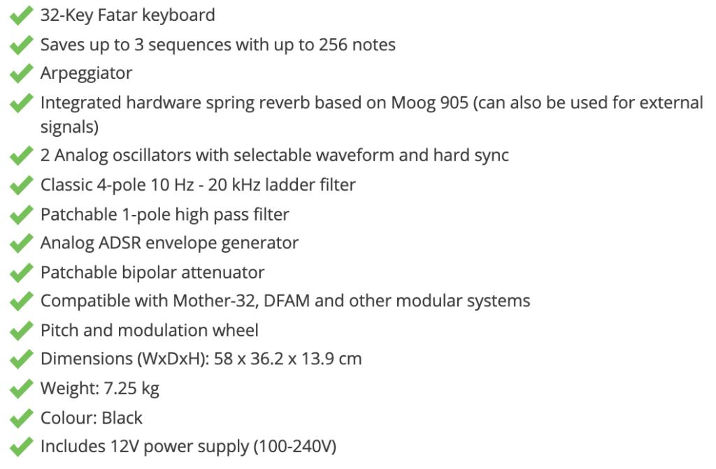 Moog Grandmother specifikationer