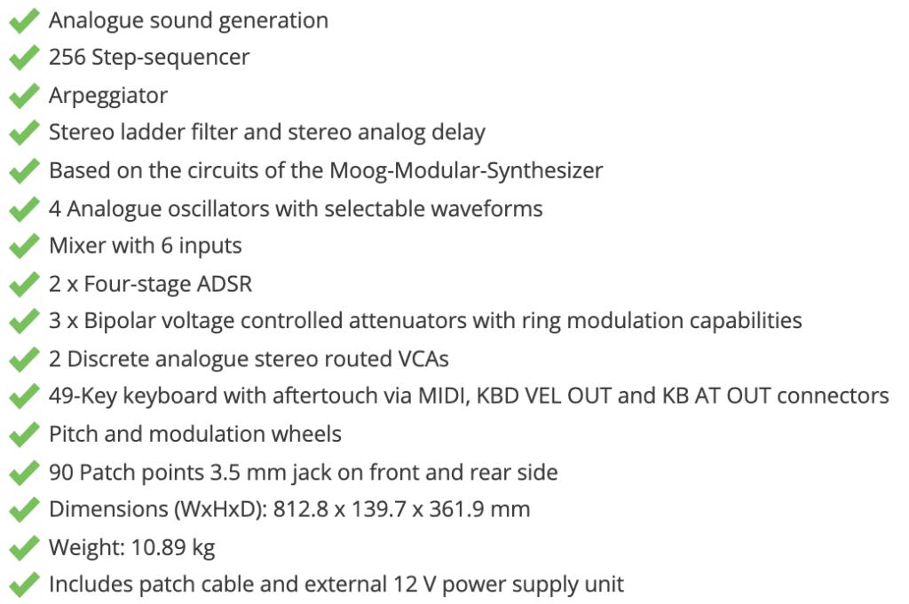 Moog Matriarch specificationer