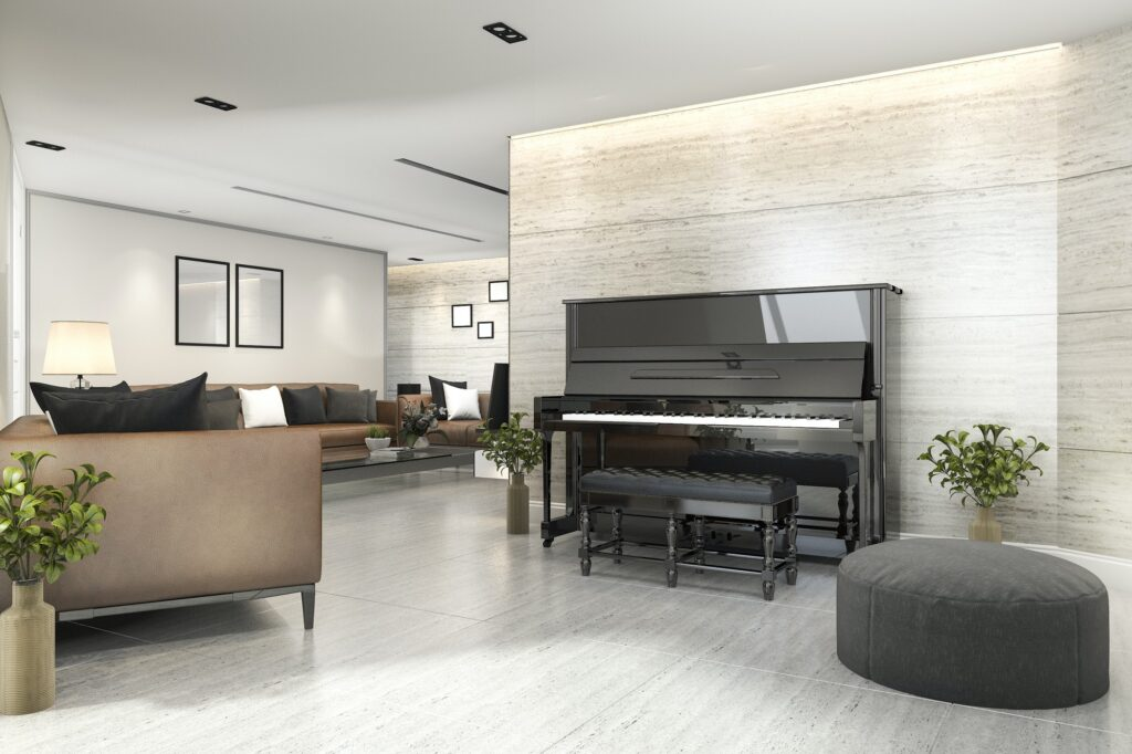 3d rendering modern living room with piano and armchair