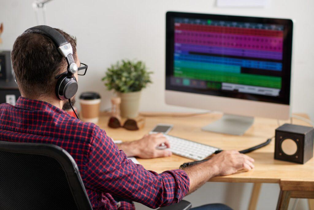 Man working at sound studio