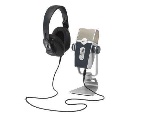 Billede af studiemikrofon med headset